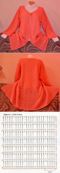 JACKET Pull Crochet, Crochet Coat, Crochet Cardigan Pattern, Crochet Jacket, Crochet Stitches Patterns, Crochet Scarves, Crochet Shawl, Crochet Clothes, Coat Patterns