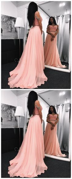 Gorgeous A-line Chiffon Prom Dresses 2018 Spaghetti-Straps Crystal Evening Gowns P0486 #promdress #promdresses #promgown #promgowns #long #pinkprom #modestpromdress #newpromdress #2018fashions #newstyles