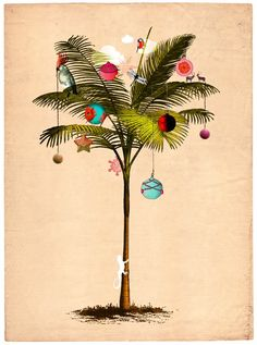 Tropical Christmas Tree by Delphine Lebourgeois Artist