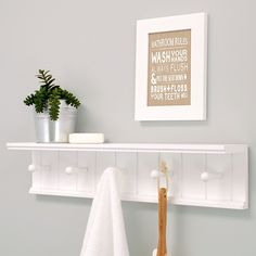 Wall Shelf with 5 Pegs, 24-Inch by 5-Inch, White