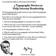 5 Typography Devices to Help Increase Readership by David Ogilvy