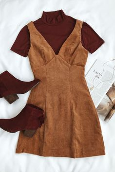 Vindicated Light Brown Corduroy Dress - The Effective Pictures We Offer You About autumn fashion A quality picture can tell you - Mode Outfits, Casual Outfits, Casual Dresses, Girly Outfits, Korean Outfits, Skirt Outfits, Fall Winter Outfits, Summer Outfits, Dress Winter
