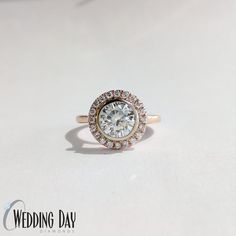 We customized this halo ring to be in #rosegold have to a bezel around the center diamond instead of prongs #gabrielco