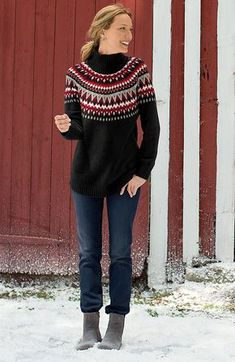 sweaters > alpine Fair Isle pullover at J. Scandinavian sweaters are a hit this Winter. Fair Isle Knitting, Sock Knitting, Vintage Knitting, Free Knitting, Norwegian Style, Fall Winter Outfits, Winter Fashion, Icelandic Sweaters, Scandinavian Fashion