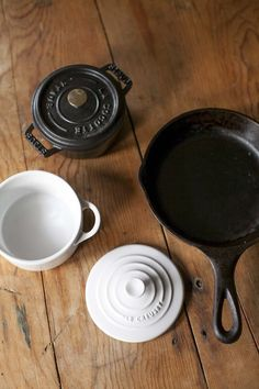 Cast iron skillet, mini Le Creuset and Staub