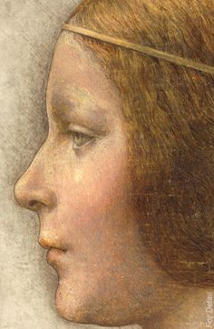 Leonardo da Vinci (attributed to), 1452-1519, Italian, Profile of a Young Fiancée, 1490s. Chalk, pen, ink and wash tint on vellum, 33 × 22 cm. Private Collection. High Renaissance.