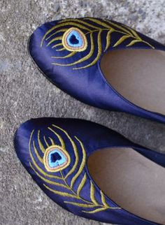 Indigo flats with peacock embroidery