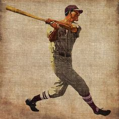 "Free Shipping. Buy Marmont Hill ""Vintage Baseball Swing"" Painting Print on Wrapped Canvas at Walmart.com"