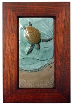 Sea turtle, Framed Art tile, Ceramic sculpted tile, Mother to be, 4x8 inches  Green sea turtle by MedicineBluffStudio on Etsy