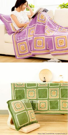 velenocka.ru Crochet Bedspread, Baby Afghan Crochet, Crochet Cushions, Crochet Pillow, Crochet Granny, Crochet Square Patterns, Crochet Squares, Crochet Blanket Patterns, Crochet Furniture