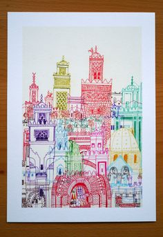 Marrakech Towers A4 Gesso Print by cheism on Etsy, $22.00