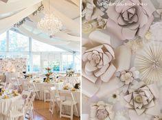 Handmade paperflower wall | #EnzoaniRealBride Cara in #Enzoani Diana wedding dress | Amanda Donaho Photography