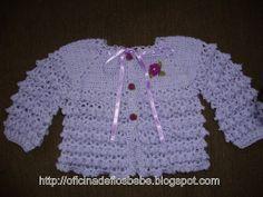 AS RECEITAS DE CROCHÊ: Casaquinho bebe lindo                              … Baby Cardigan, Baby Pullover, Crochet Bebe, Crochet For Kids, Free Crochet, Baby Knitting Patterns, Baby Patterns, Crochet Patterns, Crochet Baby Sweaters
