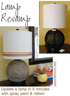 DIY: Lamp Revamp with spray paint + ribbon; Update a blah lamp within minutes.  LOTS OF DIY PROJECTS ON THIS BLOG!