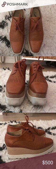 Stella McCartney Elyse oxford platforms! Stella McCartney brown and tan Elyse platform oxfords. They are in good condition the white soles can be easily cleaned with a magic eraser all marks come right out. I can do it before I ship out. The color matches everything! Stella McCartney Shoes Platforms