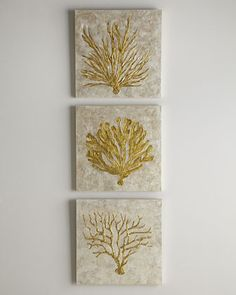 This goes great with GEOS Recycled Glass Surfaces in Amber Coast!  Coral Life Paintings at Horchow.