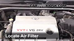 www.carcarekiosk.com/video/2003_Toyota_Camry_XLE_3.0L_V6/air_filter_engine/replace  & links to other maintenance work!