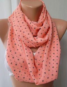 Pink loop scarf Herat print scarf infinity by ElegantScarfStore