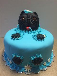 Pug cake for mid Atlantic pug fest Vanilla with marshmallow fondant. Pug Cake, Bulldog Cake, Unique Cakes, Creative Cakes, Pug Birthday Cake, Realistic Cakes, Marshmallow Fondant, Animal Cakes, Sculpted Cakes