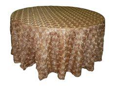 Rosette Taffeta Embroidery Tablecloth - Gold