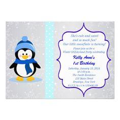 Winter Wonderland Penguin 1st Birthday Invitation