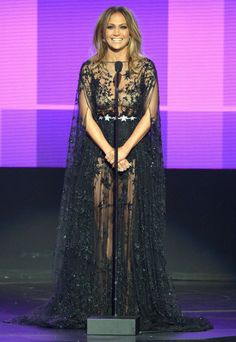 See All 10 of Jennifer Lopez's Amazing Ensembles from the 2015 AMAs - Starry Night - from InStyle.com