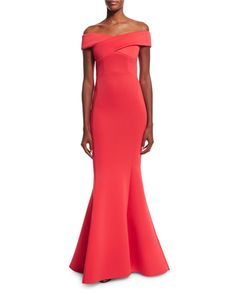 TBPN2 Rachel Gilbert Enico Off-the-Shoulder Knit Mermaid Gown, Raspberry