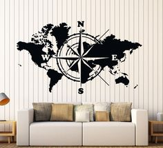 Wall Vinyl Decal World Map Atlas Of The World Compass Home Interior Decor z4422