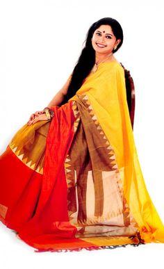 """Handloom Bengal Cotton """"gaye holud"""" saree"""