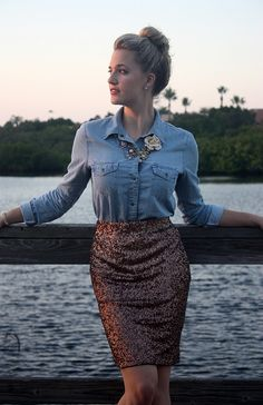 The statement necklace + sequins skirt made of that chambray a perfect shirt for an elegant evening event.