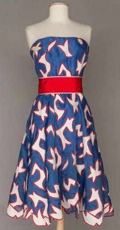 SCAASI RED, WHITE & BLUE SILK DRESS