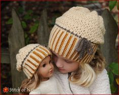 "Crochet Hat PATTERN - The Brockton Slouchy Hat - Folded Brim Cap Combo  (18"" Doll Size, Baby to Adult sizes - Girls, Boys) - id: 16024"