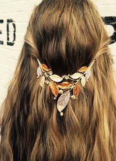 Hair jewelry, Hair accessory, Tribal hair chain, Vintage hippie head piece. Boho hair band, leaf design