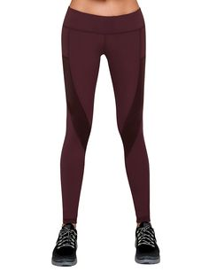Burgundy leggings with side pockets size M (prefer these since they don't have mesh)