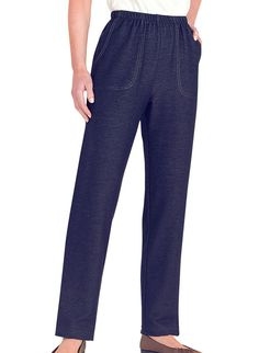 """Extra comfort and S-T-R-E-T-C-H!  Relaxed knit denim pull-on pants with full elastic waist, contrast stitching for a classic denim look, front pockets and relaxed leg. Cotton/polyester/spandex. Machine wash & dry. USA. Approximate inseams: Petite-27"""", Misses-29"""", Women's-30""""."""