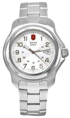 Swiss Army Men's Officer's 1884 Watch - Silver Dial/Stain... Victorinox Swiss Army, Swiss Army Watches, Army Men, Stainless Steel Bracelet, Silver, Stuff To Buy, Money