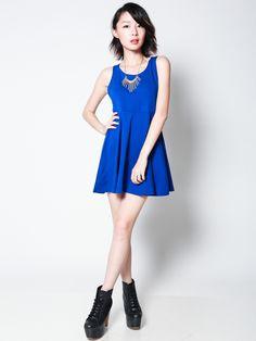 RONDA Cutout Back Skater Dress (Cobalt Blue)