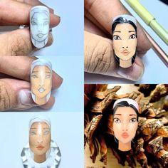 """Diego Villalobos's Instagram post: """"Mis chicos como se los prometí aquí les dejo el paso a paso de cómo trabaje a Pocahontas , espero lo lleven a la práctica"""" Cartoon Nail Designs, Nail Art Designs Videos, Nail Art Videos, Fancy Nail Art, Cute Nail Art, Fancy Nails, Nail Drawing, Nail Art Techniques, Japanese Nails"""