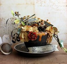 Riikka Kovasin - Paperiliitin-altered tea cup using the May Special Delivery Kit by Prima Finnabair Mixed Media, Paper Art, Paper Crafts, Prima Marketing, Diy Letters, Altered Bottles, Teapots And Cups, Mixed Media Art, Altered Art