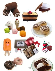 Delicious Desserts:  Play Food for Kids with a Sweet Tooth Chocolate Roll Cake, Chocolate Covered, Strawberry Desserts, Cute Sewing Projects, Felt Cake, Pretend Food, Felt Play Food, Felt Gifts, Edible Food