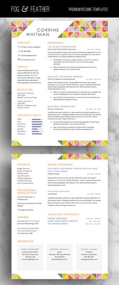 Stand out with your next job application using this four piece resume, cover letter, and reference template package by Fog & Feather!