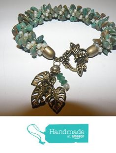 OoAK Hubei Turquoise Kumihimo Bracelet with Emerald and Leaf Dangles with Dragonfly Clasp from Beaded Bent and Twisted http://www.amazon.com/dp/B016X4ZWFE/ref=hnd_sw_r_pi_dp_jW8rwb0R4PZTP #handmadeatamazon