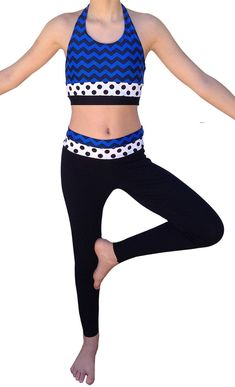 Dance Leggings and Sports Bra Outfit - Chevron and Polka Dots - Great for dance, cheerleading and yoga