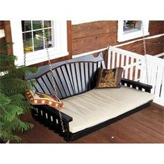 Amish Made Pine Wood Fan Back Swing Bed - Painted Furniture