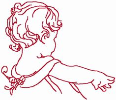 redwork embroidery | Redwork Baby Reaching | Machine Embroidery Design