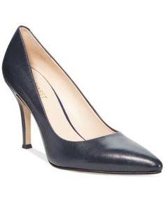 """A simple silhouette yields a sleek, sophisticated look for Nine West's Flax pumps. With a pointed-toe profile and 3-1/2"""" covered heel, they'll take you from day into evening effortlessly and elegantly"""