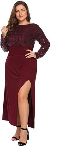 70c6f0be3fe Women s Vintage Long Sleeve Plus Size Sequin Wedding Dresses Split Evening  Party Backless Maxi Dress at Amazon Women s Clothing store