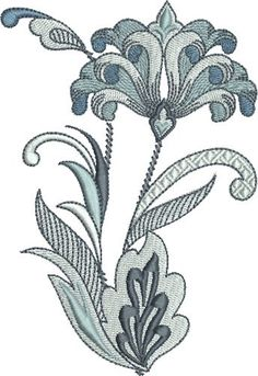 Pat Williams Embroidery Design: Kings Fleur De Lis Floral 4.94 inches H x 3.40 inches W