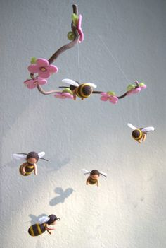 Bees mobile with five bees  felted waldorf by byNaturechild, $95.00