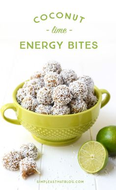 Coconut Lime Energy Bites - These little bites are the perfect snack! Gluten free, made with only four healthy ingredients and no refined sugar!
